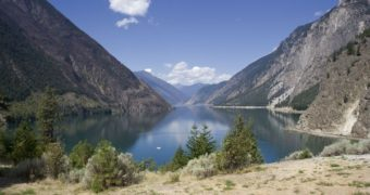 panoramic view of seton lake - british columbia, canada
